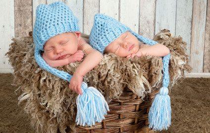 Blue hat twin babies
